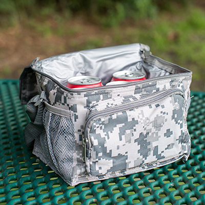 NAVIGATOR<sup>&reg;</sup> 6-Can Cooler - This digital camo print insulated 6-can cooler will keep your beverages cool on the go.  Cooler features a zippered front pocket, side mesh pockets for extra storage and adjustable shoulder strap.