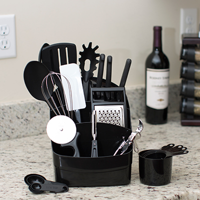 SUNBEAM<sup>&reg;</sup> Cook's Kitchen Set - This countertop set provides the essential tools for cooking. Assortment includes such items as a slotted spatula, whisk, basting spoon, utility knife, measuring spoons and much more.  Includes space-saving caddy with built-in knife block to store everything.